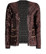 Coffee Allover Sequined Open Cardigan