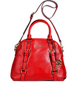 Red Leather Bedford Bowling Satchel