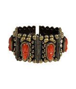 Oxidized Brass Plated Barbora Cuff with Cameos