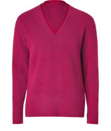 Scarlet Red V-Neck Wool-Blend Pullover