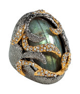 Labradorite/Midnight Vine Encrusted Ring