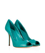 Turquoise Embossed Patent Leather Peep-Toes