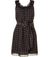 Black and cream smocked waist dress with belt