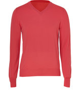 Bright Red Wool V-Neck Pullover