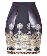 Black Crystal Print Silk Tulip Skirt