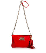 Red Siam Nylon/Leather Louisa Flat Crossbody Bag
