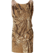 Gold All Over Sequined Dress with Scoop Back