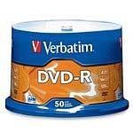 Verbatim 16x 4.7GB DVD-R Media (50-pack Spindle)