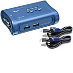 KVM Switch 2-Port USB Desktop (2) 4 ft. Cables TK-